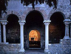 Roman columns on San Liberato church, Bracciano